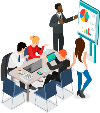 Animated image of four people around a desk and one man standing pointing to a flip chart.