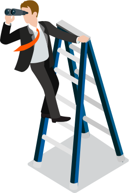 Animated image of man standing on a ladder holding binoculars.