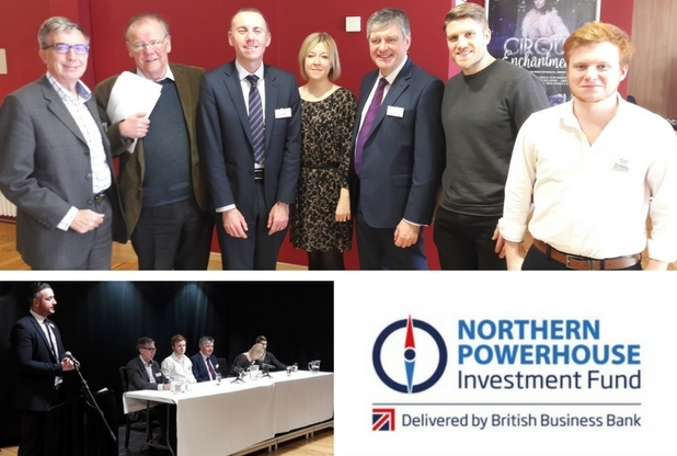 Seven people standing in a row in the top frame, bottom left frame has five people sitting along a long desk and one man standing up and the final frame shows the logo of Northern Powerhouse Investment Fund.