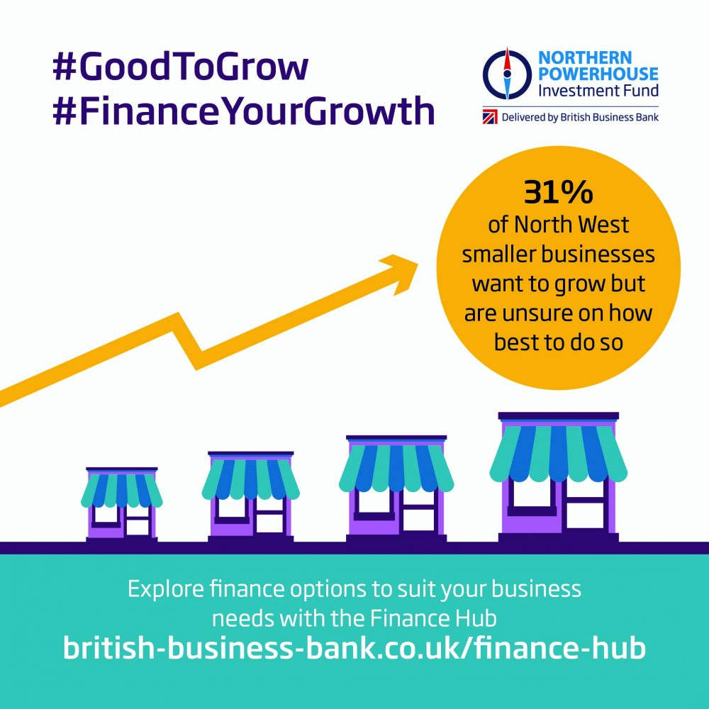 Infographic showing how 31% of smaller businesses in the North West want to grow but don't know how