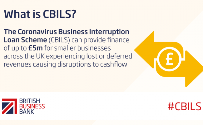 What is CBILS logo - description of CBILS, mainly text with yellow image including £ pound sign.