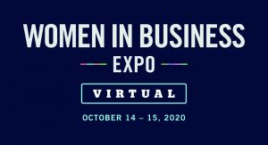 A banner for the Women in Business Expo 2020
