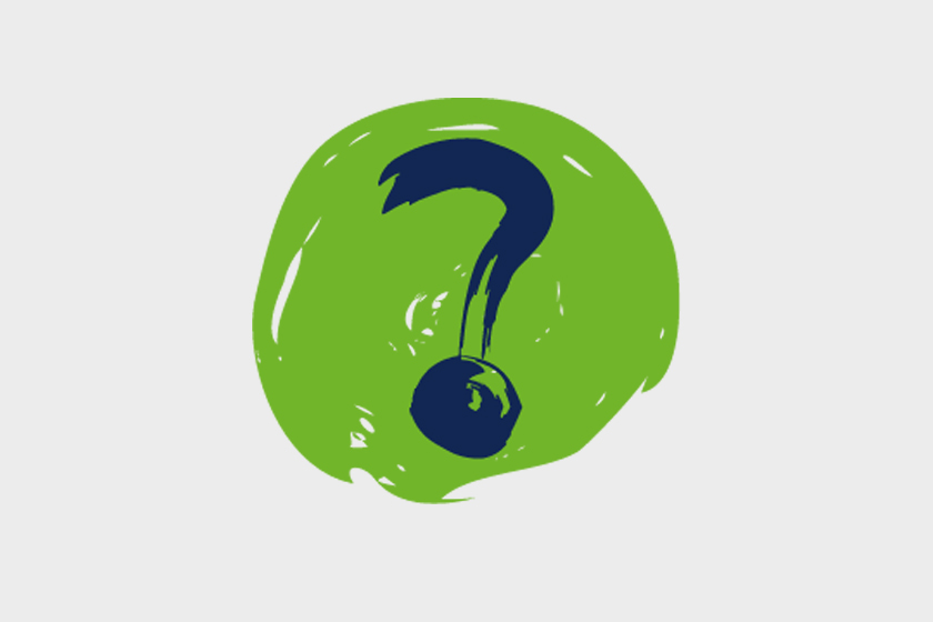 A painted circle graphic with a question mark in the centre