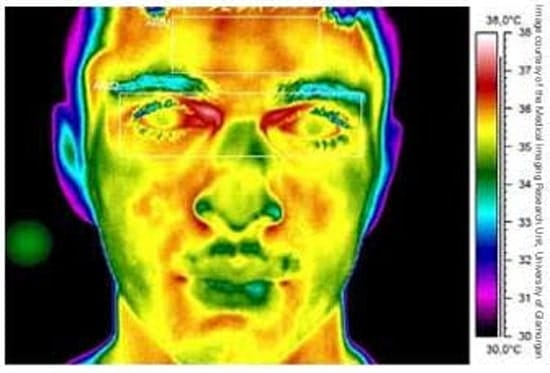 A man's head showed on the display of a thermal imaging device