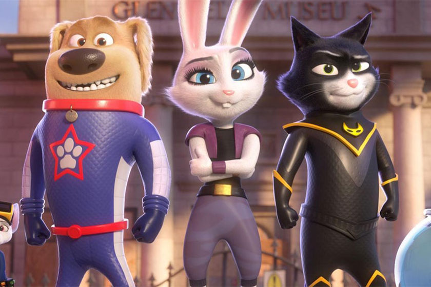 A cartoon dog, cat and rabbit in superhero clothing from the film StarDog and TurboCat